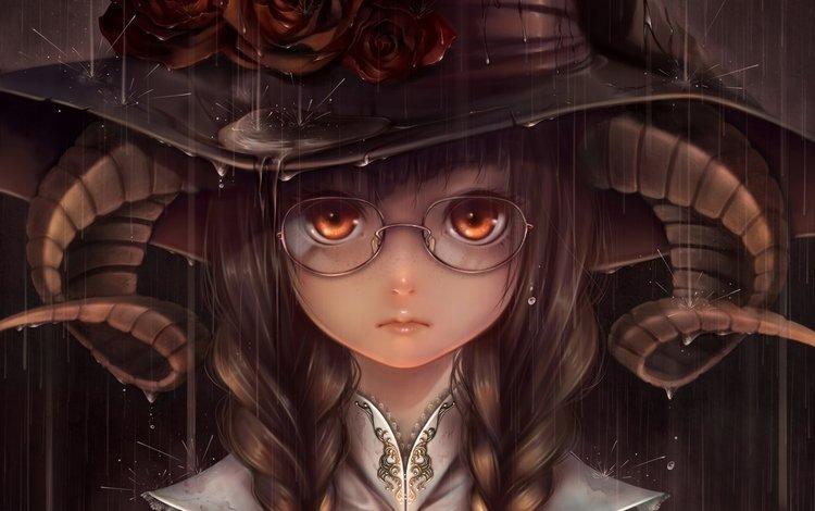 девушка, аниме девушка, взгляд, ведьма, волосы, лицо, рога, шляпа, косы, girl, anime girl, look, witch, hair, face, horns, hat, braids