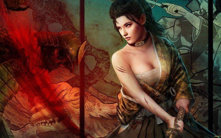 art, girl, sword, katana, mario wibisono, legend of the five rings, matsu rika