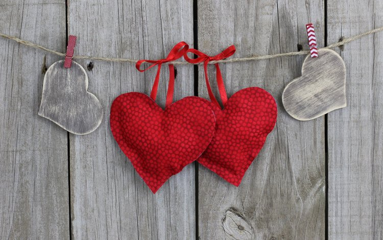 heart, rope, hearts, clothespins, wooden surface