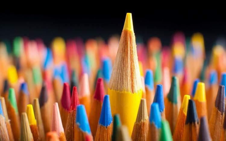 макро, разноцветные, карандаши, цветные карандаши, macro, colorful, pencils, colored pencils
