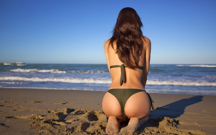 girl, sea, pose, sand, beach, model, hair, bikini, ass