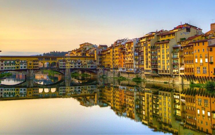 река, отражение, мост, италия, флоренция, река арно, старый мост, понте веккьо, river, reflection, bridge, italy, florence, the arno river, old bridge, the ponte vecchio