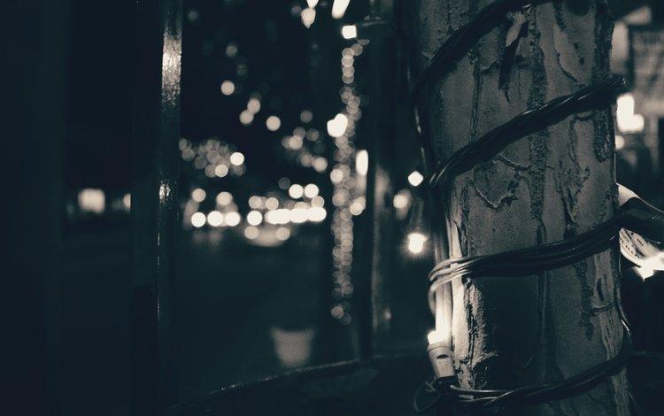 light, night, black and white, street, light bulb, garland, bokeh