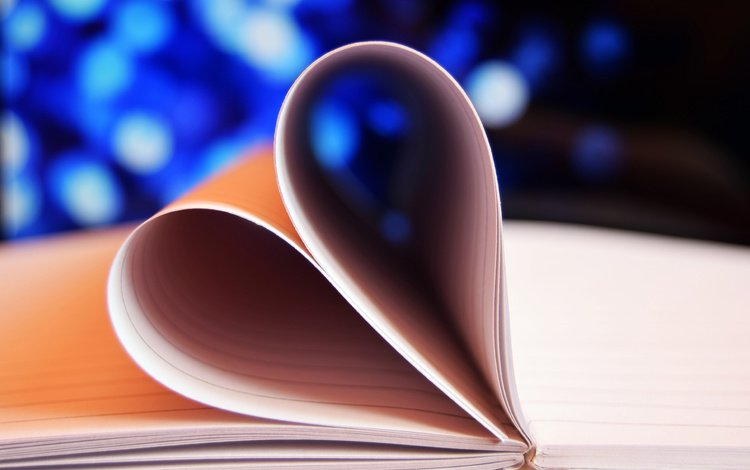 paper, heart, love, notebook, page