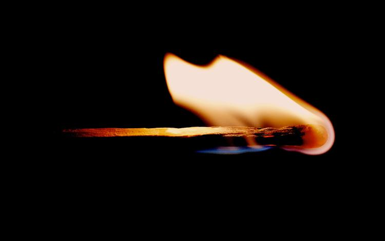 flame, fire, black background, match