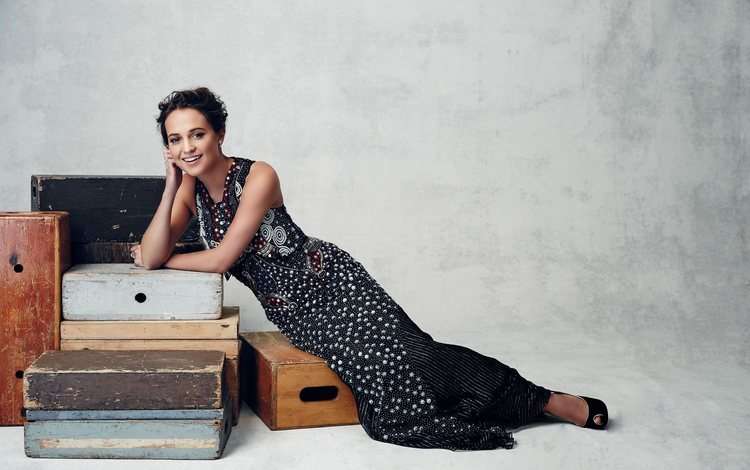 girl, dress, smile, look, hair, face, actress, photoshoot, boxes, alicia vikander