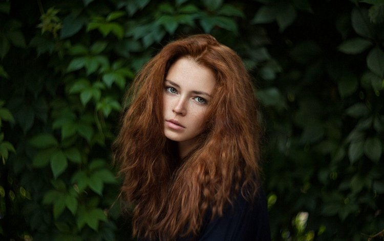 eyes, girl, portrait, red, model, face, freckles, photoshoot, long hair, anna, ivan warhammer