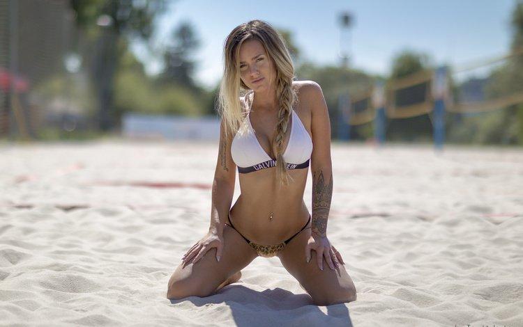 mädchen, pose, blonde, sand, strand, blick, modell, brust, gesicht, spit