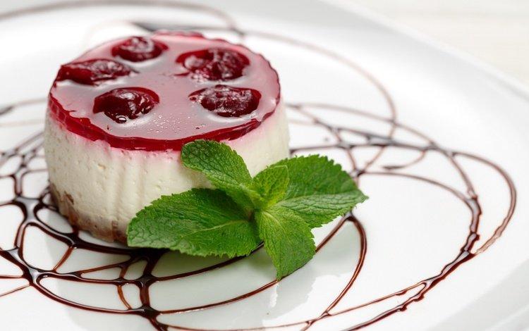 мята, пирожное, мороженое, ягоды, вишня, шоколад, сладкое, десерт, желе, mint, cake, ice cream, berries, cherry, chocolate, sweet, dessert, jelly