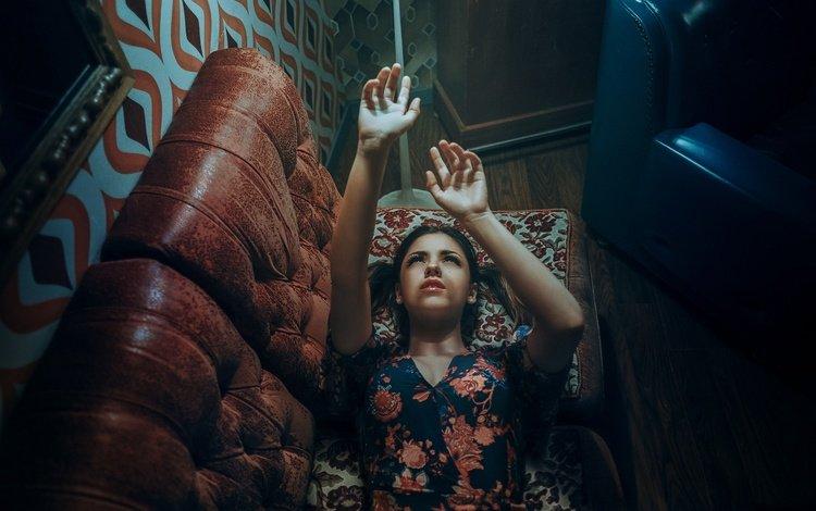 light, girl, dress, look, hair, face, hands, sofa, alexandra, estival