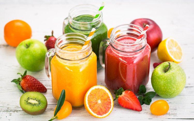 напиток, сок, фрукты, смузи, яблоки, клубника, ягоды, киви, банки, цитрусы, drink, juice, fruit, smoothies, apples, strawberry, berries, kiwi, banks, citrus