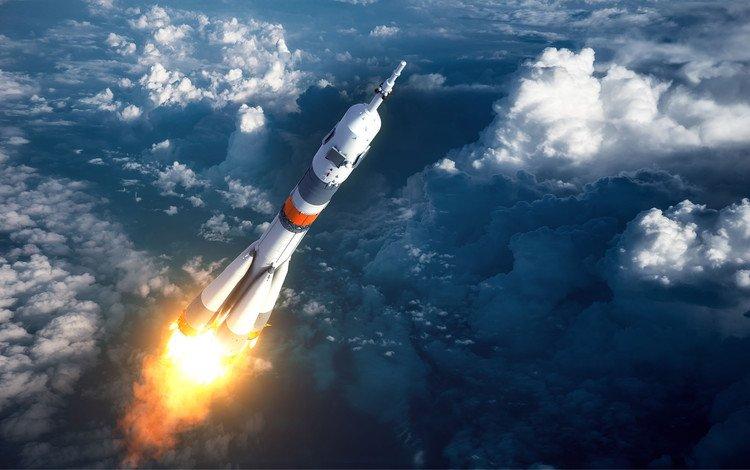 небо, облака, космос, ракета, the sky, clouds, space, rocket