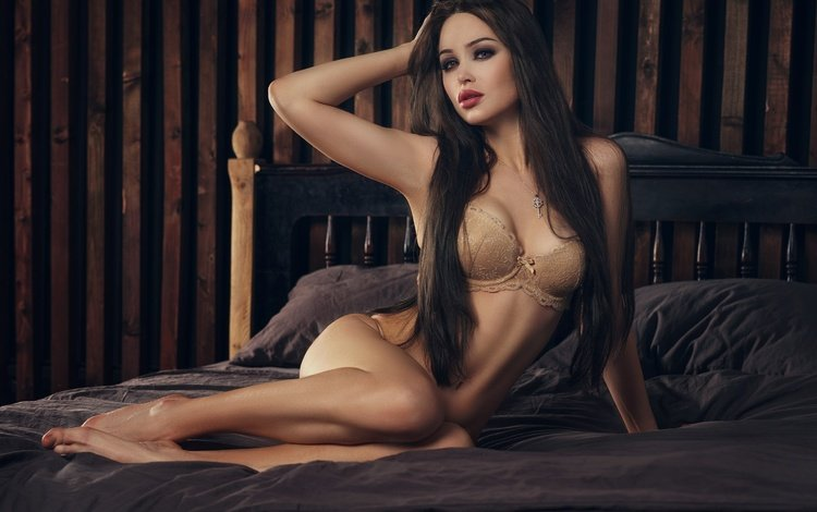 girl, brunette, look, model, sitting, hair, face, bed, underwear, belly, long hair