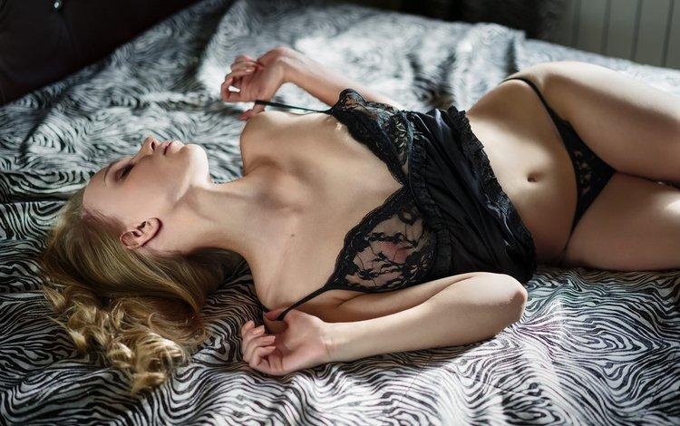 girl, blonde, model, black lingerie, closed eyes, in bed
