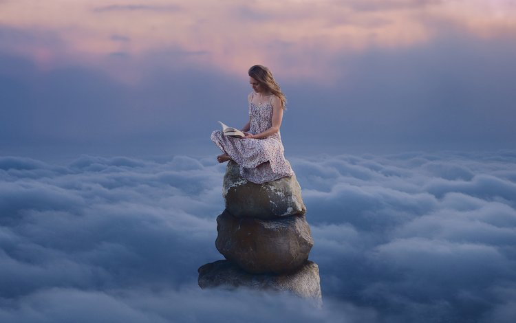 clouds, mountains, stones, girl, dress, book, reading