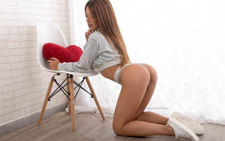 ass, panties, chair, heart, model, room, figure, posing, sweater, sneakers, on my knees