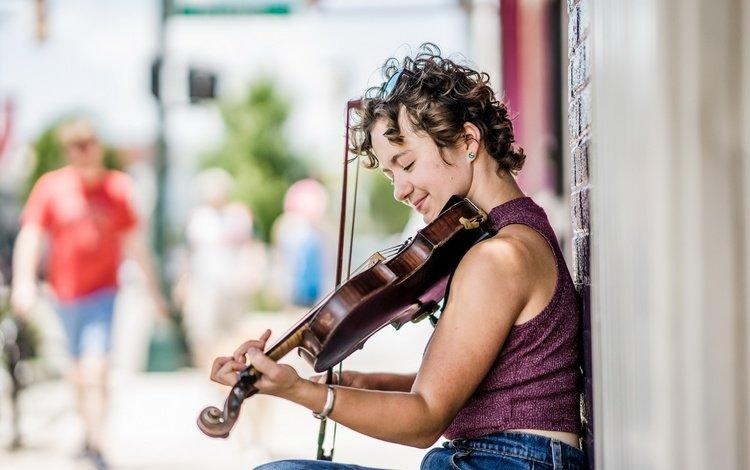 girl, smile, violin, music, street, profile, musical instrument