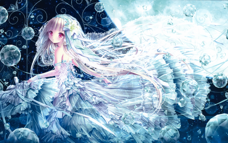 девушка, платье, взгляд, аниме, волосы, лицо, tinkle, tinkerbell, artbook, girl, dress, look, anime, hair, face