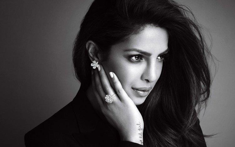 girl, brunette, look, black and white, model, hair, lips, face, actress, celebrity, priyanka chopra