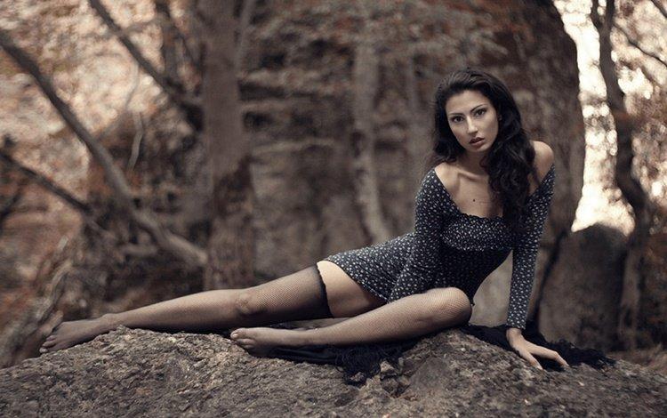 forest, girl, brunette, look, model, legs, hair, face, barefoot