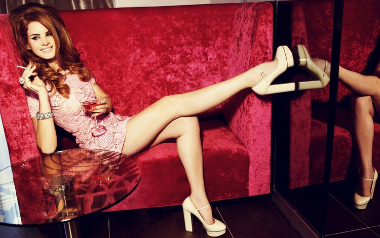 girl, smile, look, glass, feet, hair, face, singer, heels, cigarette, lana del rey