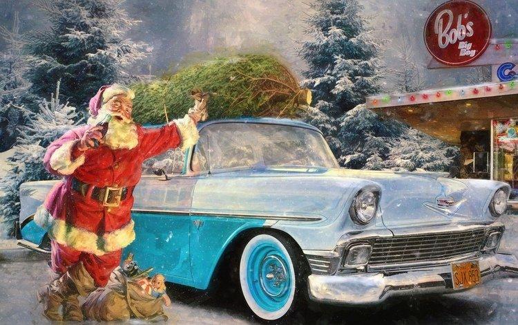 снег, кола, зима, машина, ель, рождество, реклама, санта клаус, заправка, snow, cola, winter, machine, spruce, christmas, advertising, santa claus, dressing