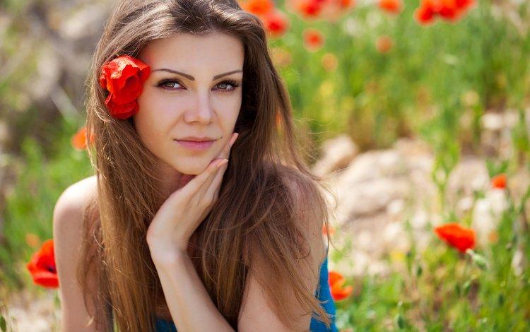 цветы, девушка, портрет, взгляд, маки, волосы, губы, лицо, flowers, girl, portrait, look, maki, hair, lips, face