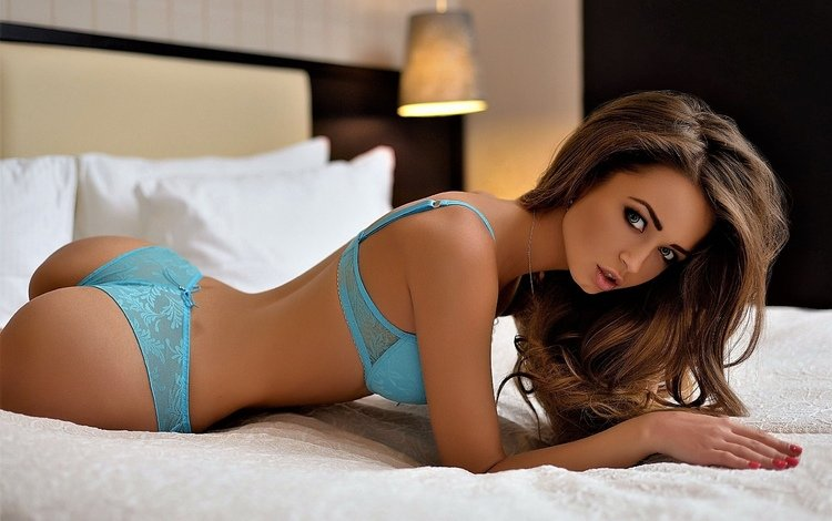 girl, brunette, hair, clothing, ass, black hair, supermodel, in bed, lingerie, looking at the viewer