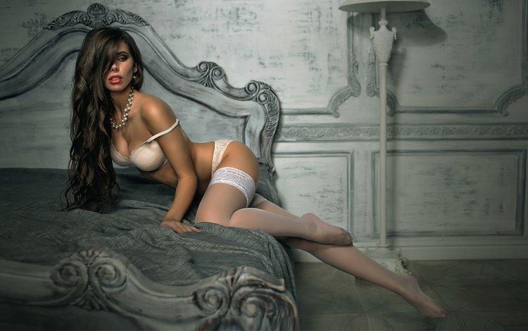 девушка, стена, чулки, кровать, girl, wall, stockings, bed