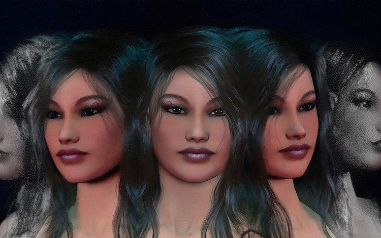 девушка, лица, грань, 3d обои, gевочка, зеркальная, girl, face, 3d wallpaper, mirror