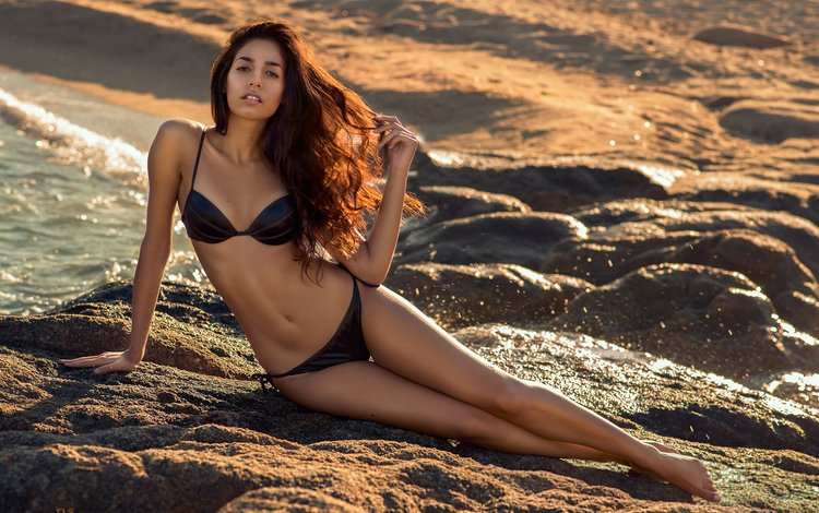 girl, sea, pose, sand, beach, look, model, face, bikini, long hair, fugure