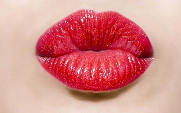 девушка, поцелуй, помада, красные губы, girl, kiss, lipstick, red lips