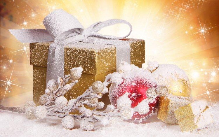 new year, balls, gift, christmas, branch, snow