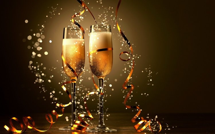 new year, glasses, christmas, champagne