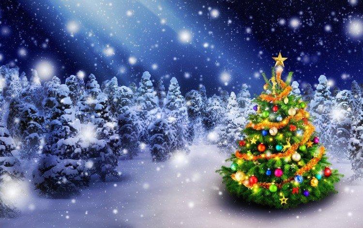 snow, new year, tree, winter, stars, holiday, christmas, christmas decorations