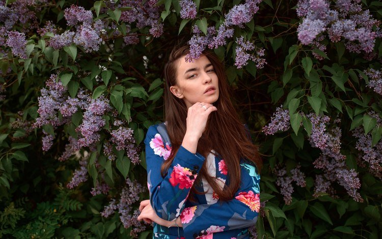 leaves, girl, pose, branches, look, garden, model, face, lilac, brown hair, long hair