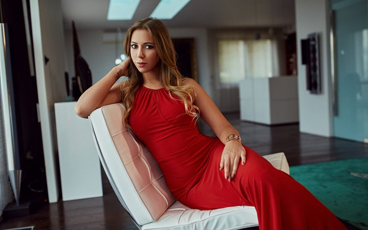 girl, pose, model, room, sitting, makeup, hairstyle, figure, red dress, in the chair, brown hair, peter paszternak, timi