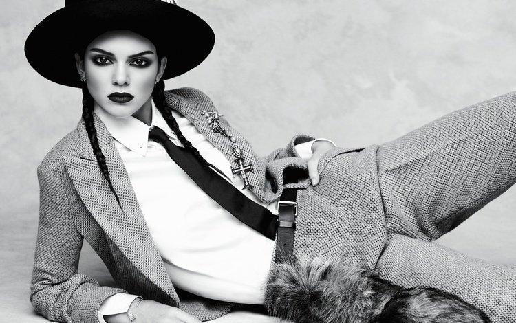 brunette, black and white, model, makeup, hat, tie, photoshoot, braids, kendall jenner