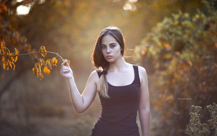 leaves, girl, branches, look, autumn, model, hair, face, black dress, nurettin yildirim