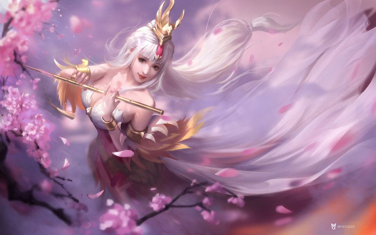 girl, petals, look, fantasy, hair, face, sakura, magic, princess, league of legends