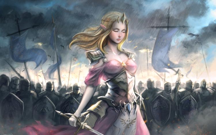 sword, war, soldiers, princess, battle, blonde, armor, artwork, zelda, princess zelda, the legend of zelda