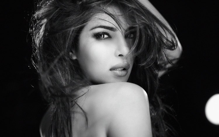 girl, look, black and white, model, hair, face, actress, celebrity, indian, priyanka chopra