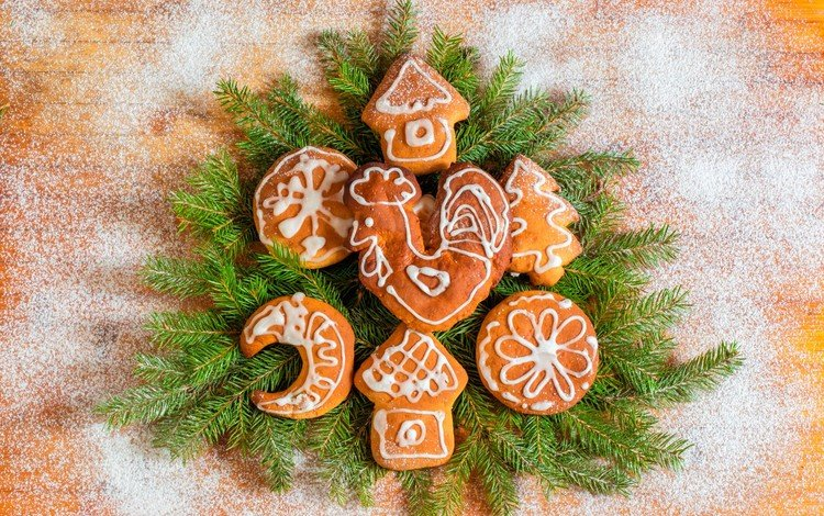 новый год, хвоя, дизайн, ветки, рождество, печенье, выпечка, сахарная пудра, new year, needles, design, branches, christmas, cookies, cakes, powdered sugar