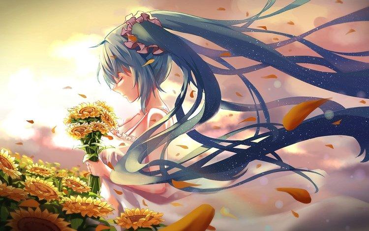 цветы, профиль, подсолнухи, закрытые глаза, совсем, аниме девочка, мику хацунэ, flowers, profile, sunflowers, closed eyes, quite, anime girl, hatsune miku