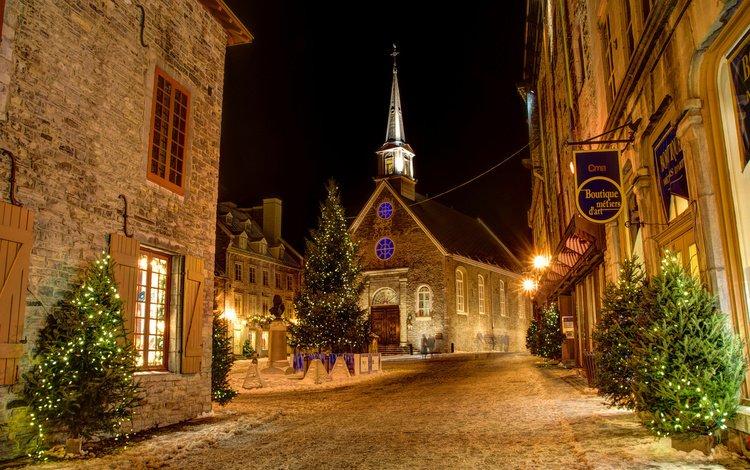 night, tree, the city, garland, christmas, canada, qc, new year's year