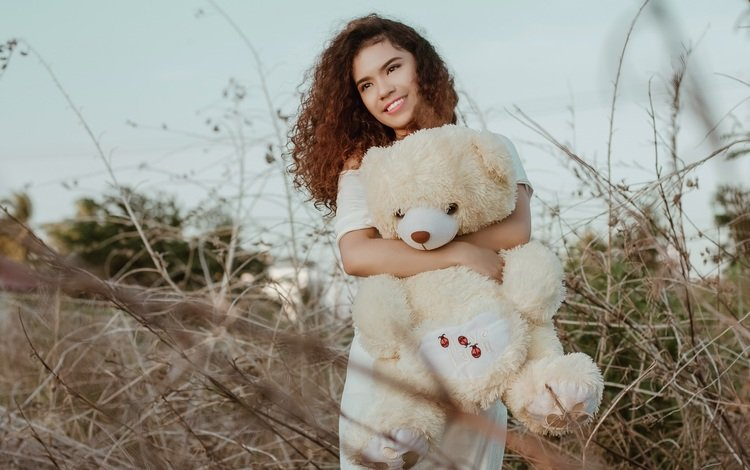girl, smile, look, red, toy, model, curls, face, teddy bear