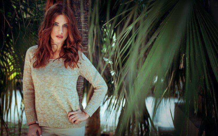 girl, look, red, palm trees, hair, face, manthos tsakiridis