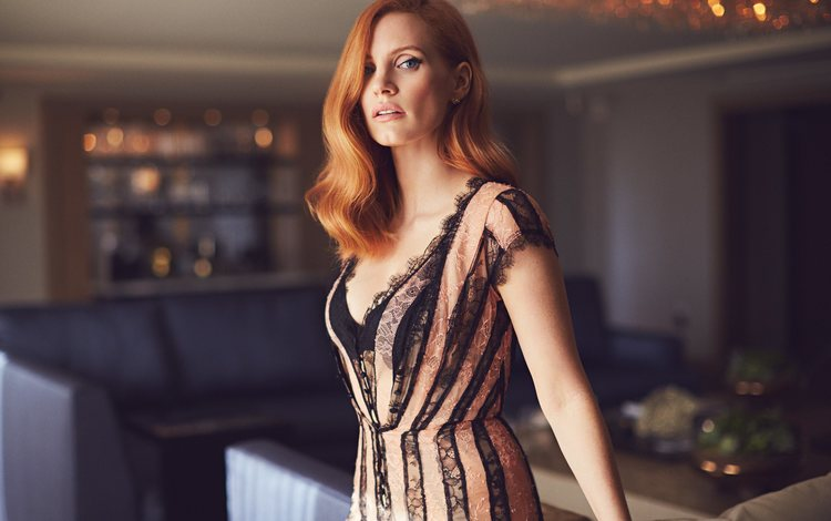 girl, look, red, hair, face, actress, celebrity, jessica chastain, mike rozenthal