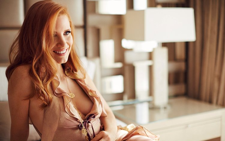 girl, smile, look, red, hair, face, actress, neckline, jessica chastain