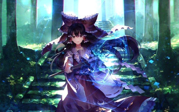 волшебство, деревь, миленькая, hakurei reimu, аниме девочка, тохо, \, shrine, reimu hakurei, magic, trees, cute, anime girl, touhou